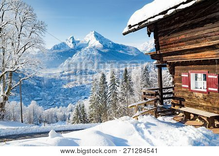 Beautiful View Of Traditional Wooden Mountain Cabin In Scenic Winter Wonderland Mountain Scenery In