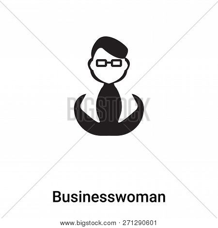 Businesswoman Icon In Trendy Design Style. Businesswoman Icon Isolated On White Background. Business