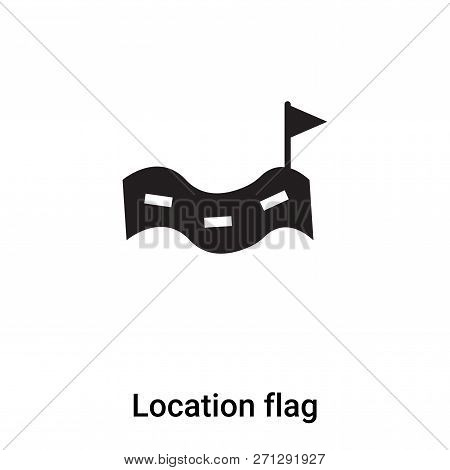 Location Flag Icon In Trendy Design Style. Location Flag Icon Isolated On White Background. Location