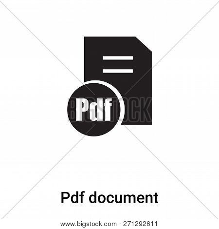 Pdf Document Icon In Trendy Design Style. Pdf Document Icon Isolated On White Background. Pdf Docume
