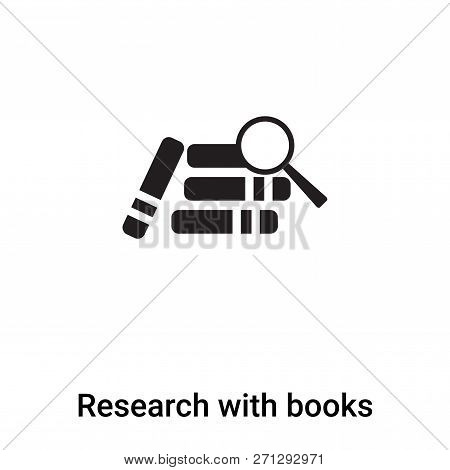 Research With Books Icon In Trendy Design Style. Research With Books Icon Isolated On White Backgrou