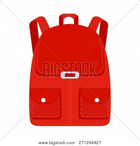 School Backpack Icon In Flat Style. Hiking Backpack. Childrens Backpack For Learning And Study. Vect