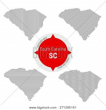 Hatched Pattern Vector Map Of South Carolina. Stylized Simple Silhouette Of South Carolina. Four Dif