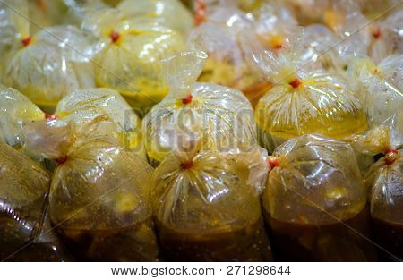 Thai Street Food Chillies In A Plastic Bags