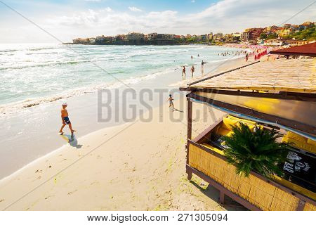 Sozopol, Bulgaria - Aug 9, 2015: Sandy Beach On Sunny Morning. Popular Resort Town And Travel Destin