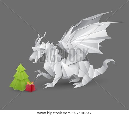 origami dragon and a Christmas tree with a present - RASTER version creative illustration