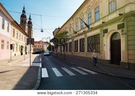 Sibiu, Romania - Jul 25, 2017: Places Of Interest On Mitropoliei Street In Sibiu. The National Bank