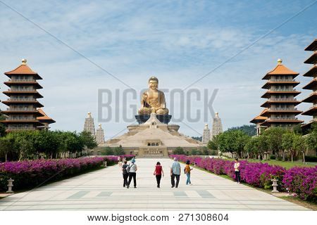 KAOHSIUNG, TAIWAN- NOVEMBER 19, 2018:  The Fo Guang Shan Buddha Museum is a Mahayana Buddhist cultural, religious and educational museum located in Kaohsiung,