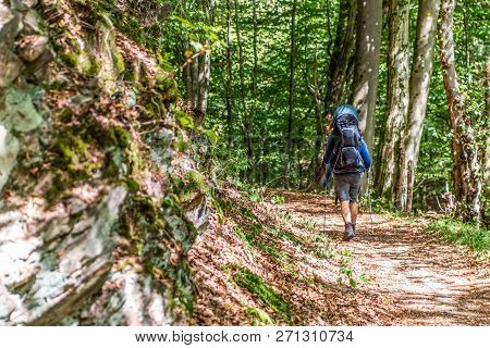 Man With Huge Baby Backpack Hiking In The Forest On A Sunny Day In Nature