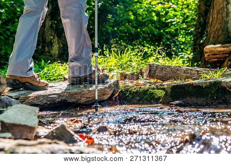 Young Girl Woman Hiking Schoes And Sticks Detail View In The Forest Outdoor Activity In Nature
