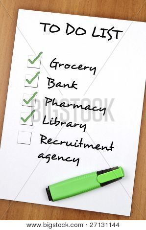 To do list with Recruitment agency not checked