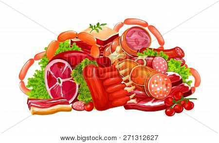 Meat And Sausages, Butchery Farm Products. Vector Pork Bacon, Beef Brisket Or Steak And Mutton Ribs