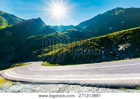 Transfagarasan Road In Mountains Winding Uphill. Popular Travel Destination Of Romania. Beautiful Su