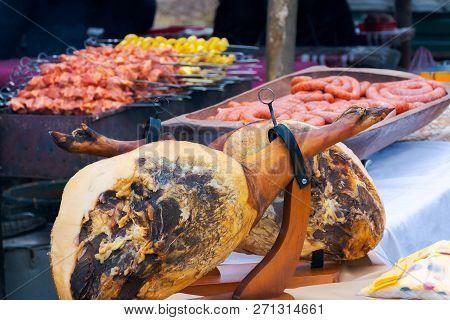 Hecha, Ukraine - Jan 27, 2018: Pork Butchers Competition. Pork Shoulder Also Called Hamonda On The T