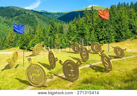 Currency Wars. Bulls Vs Bears, Bitcoin Leading The Team. Battle On The Hill Near The Forest. Capture