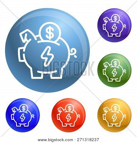 Economy Save Piggy Bank Icons Set Vector 6 Color Isolated On White Background