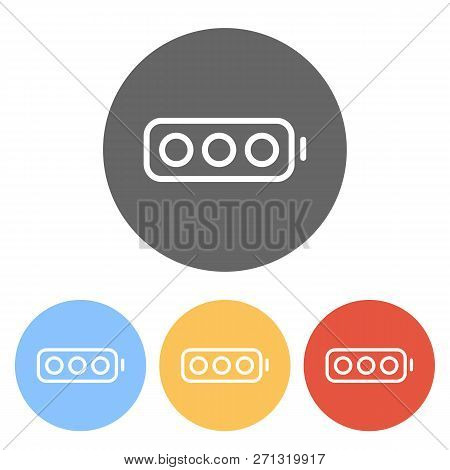 Simple Empty Battery, None Level. Set Of White Icons On Colored Circles