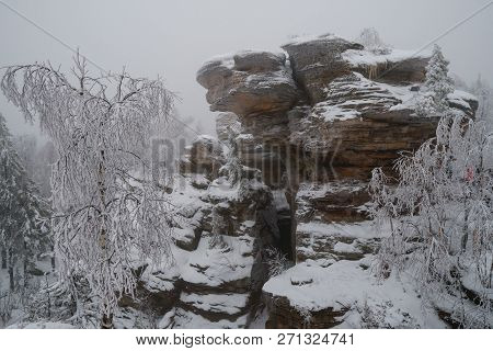 Famous national park Stone Town with beautiful rocks in winter, Russia, Perm region. poster