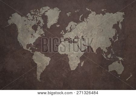 Grunge World Map Made With A Planisphere Overlaid With Grungy Elements, Dark Seas And Light Lands Ve