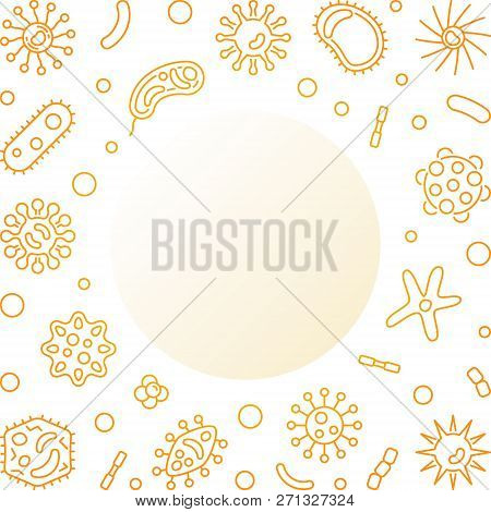 Human Microbiota Square Golden Frame With Place For Your Text. Vector Concept Illustration In Thin L