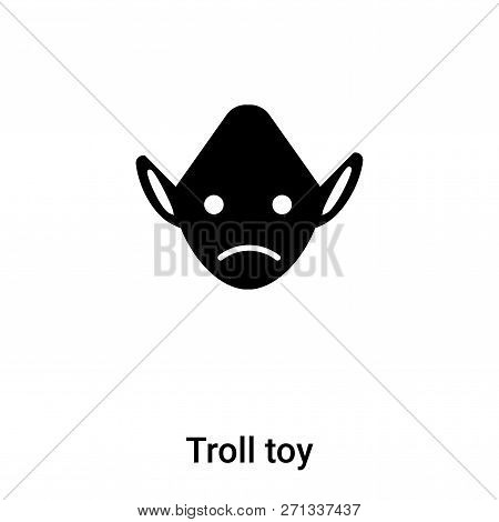 Troll Toy Icon In Trendy Design Style. Troll Toy Icon Isolated On White Background. Troll Toy Vector
