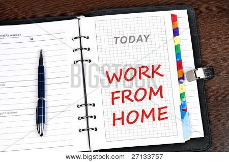 Work from home message on today page