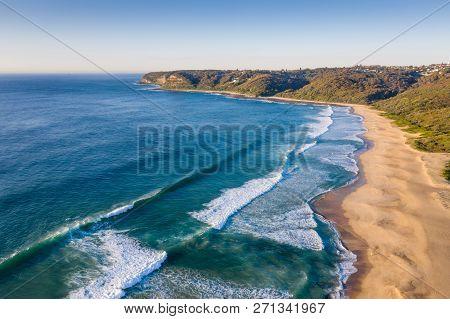 Aerial View Of Dudley Beach - Newcastle Australia. This Beach A Few Kilometres South Of The City Cen