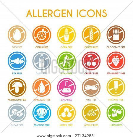 Allergen Icons Set Flat Style. Vector Illustration