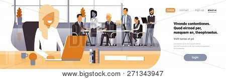 Businesswoman Boss Workplace Over Team Brainstorming Meeting Group Business People Sitting Together