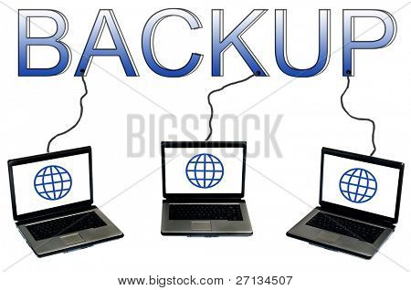 Backup word connected to laptops
