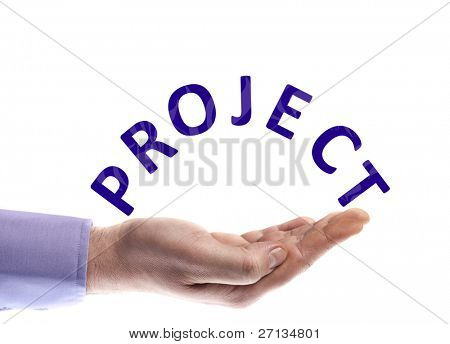 Project word in male hand