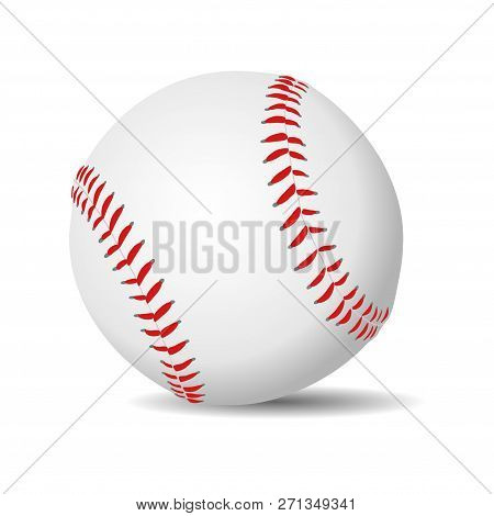Baseball Ball Realistic In White Leather With Red Stitches