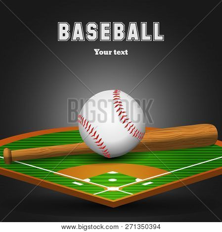Baseball Leather Ball And Wooden Bat On Field