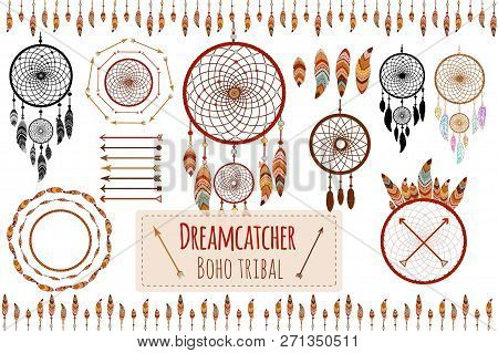 Hand Drawn Tribal Collection With Arrows, Feathers, Dreamcatcher