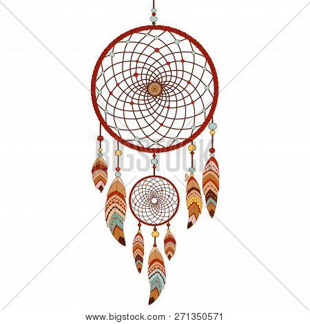 Dreamcatcher Isolated On White Background. Native American Indian Dream Catcher. Colorful Logo Vecto
