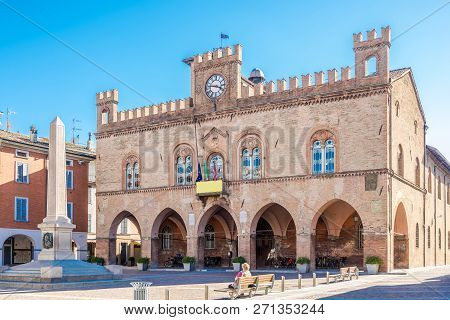 View At The Town Hall And Garibaldi Obelisk In Fidenza, Italy