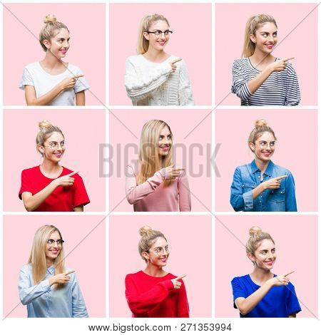 Collage of young beautiful blonde woman over pink isolated background cheerful with a smile of face pointing with hand and finger up to the side with happy and natural expression on face