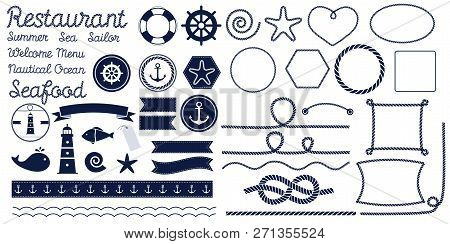 Rope Knots. Marine Rope Knot. Set Of Nautical Rope Knots, Corners And Frames. Decorative Elements In