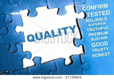 Quality blue puzzle pieces assembled poster