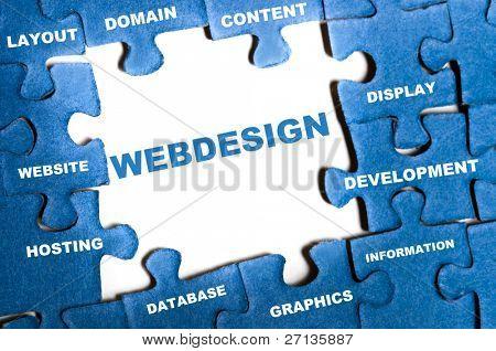 Webdesign blue puzzle pieces assembled
