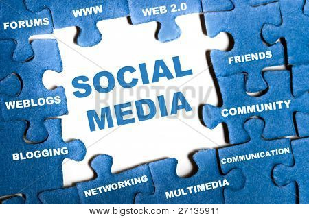 Social media blue puzzle pieces assembled