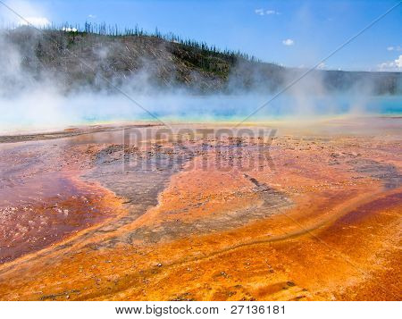 misty hot springs in Yellow stone national park