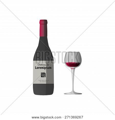 Vector Illustration Of Wineglass With Red Wine And Dark Grey Wine Bottle, Red Cap And Sticker With T