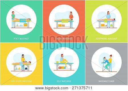 Foot And Facial, Abdominal And Self, Hot Stone Massage And Special Chair Cartoon Set Vector Posters.