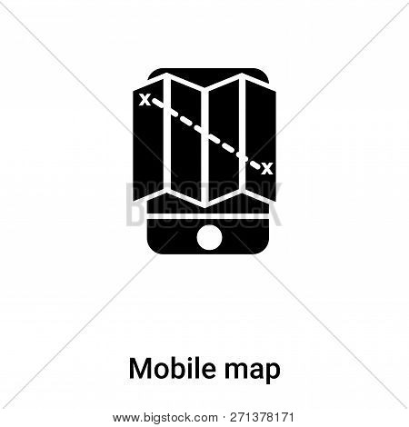 Mobile Map Icon In Trendy Design Style. Mobile Map Icon Isolated On White Background. Mobile Map Vec