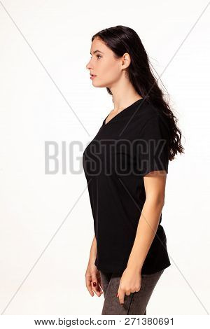 Woman Posing Standing Sideways Isolated On White Background