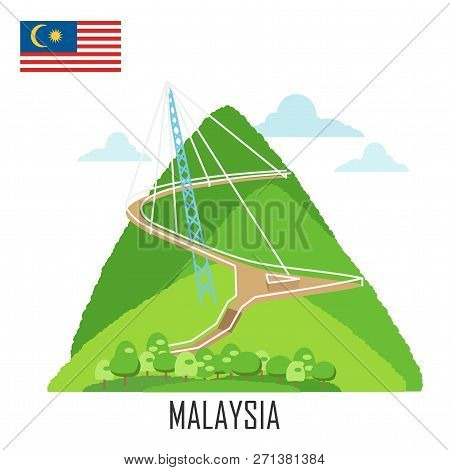 Landmark Of  Langkawi, Malaysia. Sky Bridge And Malaysian Flag Background. Vector Illustration