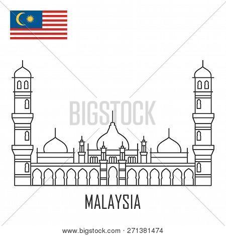 Malaysia Landmark. Masjid Jamek Mosque , Kuala Lumpur. Flat Outline Style Historic Sight Showplace A