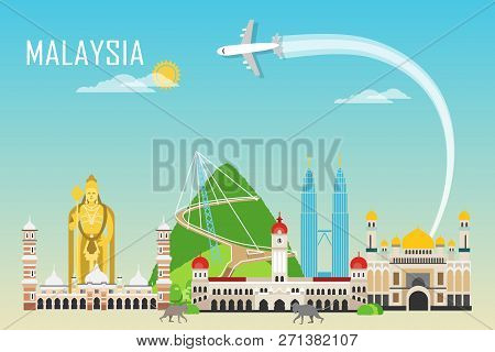 Travel Background With Landmarks Of Malaysia. Web Advertising Banner. Infographic With Symbols. Trav