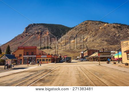 Silverton, Colorado, Usa - October 15, 2018 : Silverton Historic District With Dead End Of The Duran